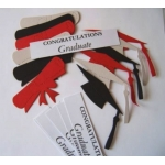 Diecut GRADUATION Theme shapes. Mortar Board, Diploma & Sentiments