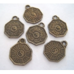 Metal Charms FENG SHUI Pa Kua 13mm **CLEARANCE**