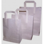 Small PAPER CARRIER Bag. White Kraft.  18 x 7 x 21cm. Flat paper handles