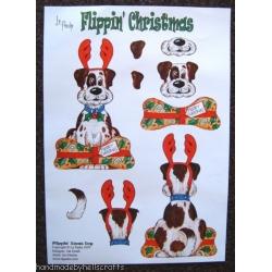 DOG Flippin' Christmas Decoupage 2 sheet pack