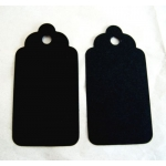 20 Large TAG BLANKS, Scallop edge. BLACK MATT