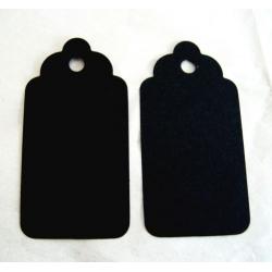 20 Large TAG BLANKS, Scallop edge. BLACK MATT