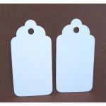20 Large TAG BLANKS. Scalloped Top. BRIGHT WHITE