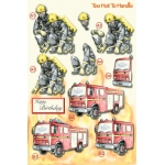 3D Die Cut Decoupage Sheet TOO HOT TO HANDLE. Firemen