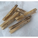 12 Large Rustic Scorched Wooden Pegs. Primitive/Folk Art Style.