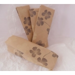 Handcrafted Brown Paper Sweetie Bag. Black & Cream Floral Print