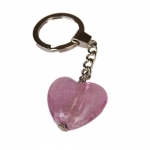 Large Glass Heart Keyring. Boxed. PINK