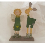 Standing Angel & Elk Wooden Christmas Decoration