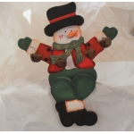 Shelf or Mantlepiece Sitting SNOWMAN Wooden Christmas Decoration