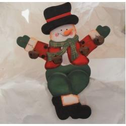 Shelf or Mantlepiece Sitting SNOWMAN Wooden Christmas Decoration