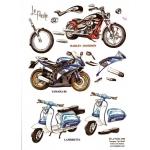3D Decoupage Sheet  MOTORBIKES Harley, Yamaha, Lambretta