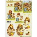 3D Decoupage Sheet.  PUPPIES & KITTENS 4169.63