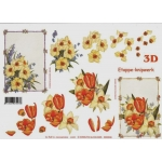 3D Decoupage Sheet.  FLORAL PANELS. 416939