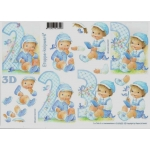 3D Decoupage Sheet.  LITTLE BOY, 2ND and 3RD BIRTHDAY