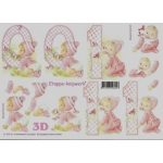 3D Decoupage Sheet BABY GIRL and 1ST BIRTHDAY