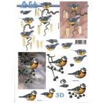 3D Decoupage Sheet.  WINTER BIRDS. 777.046