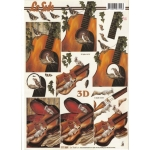 3D Decoupage Sheet.  MUSIC. Guitar & Cello, wildlife. 777.059
