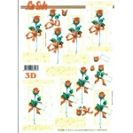 3D Decoupage Sheet.  RED ROSES 777028