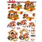 3D Decoupage Sheet.  GUINEA PIGS. 8215.246