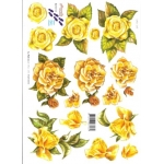 3D Decoupage Sheet.  YELLOW/GOLDEN ROSE 8215113