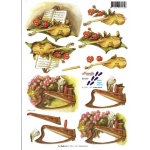 3D Decoupage Sheet.  MUSIC Harp & Violin. 821547