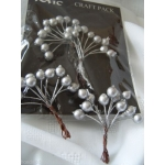 Pack of Large Wired BERRIES, Silver