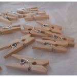 "Cute Mini Wooden 25mm (1"") Pegs. NATURAL. Qty: 24"