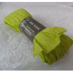 5m Supersoft Handmade PAPER RIBBON, Silk Plisse.  LIME GREEN.