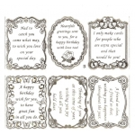 Large Sheet PEEL-OFF Self Adhesive Verses. Birthday & Friendship. SILVER (05/06)