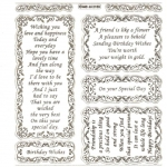 Large Sheet PEEL-OFF Self Adhesive Verses. Birthday/Friendship. GOLD (652103)