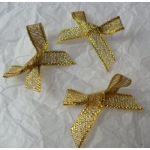 Ribbon Bows. 30mm Lurex. GOLD.  QTY: 24