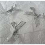 Ribbon Bows. 30mm Lurex. SILVER.  QTY: 24