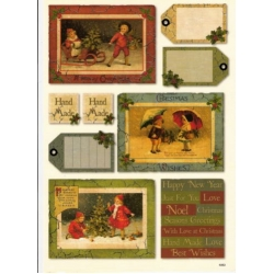 Vintage Christmas Topper & Sentiments A4 Sheet OUTDOORS