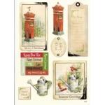 Vintage Christmas Topper & Sentiments A4 Sheet. POST BOX