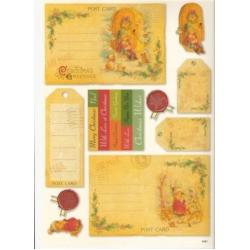 Vintage Christmas Topper & Sentiments A4 Sheet POST CARDS