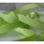 20m Reel.  12mm POLKA DOT Satin Ribbon. SPRING GREEN & WHITE