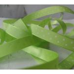 By the METRE. 12mm POLKA DOT Satin Ribbon.SPRING GREEN & WHITE
