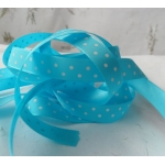 By the METRE. 12mm POLKA DOT Satin Ribbon.Blue TURQUOISE & WHITE