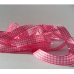 25m Reel.  12mm GINGHAM Country Check Ribbon. FUCHSIA PINK & WHITE