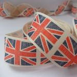 by the METRE... Union Jack Patriotic Ribbon, Vintage Distressed Design, 25mm wide Red & Blue