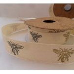 Vintage Style BEE DRAGONFLY  Printed Ribbon Tape 20mm wide. 2.5m Reel