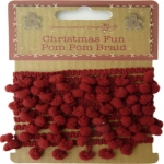 Christmas Fun Pom Pom Braids, Red, 2m total, Lynette Anderson Designs