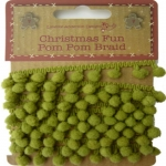 Christmas Fun Pom Pom Braids, Green, 2m total, Lynette Anderson Designs
