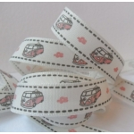 By the METRE....  CAMPER VAN, Pink, Ribbon, 15mm wide