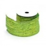 By The Metre.... Metallic GREEN Wired Crinkle Ribbon, 60mm wide