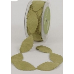 1m Motif  Faux Suede Leaf Ribbon, Green