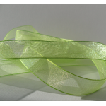 25m Reel.  ORGANZA RIBBON.  15mm Wide.  SPRING GREEN (Col.62)