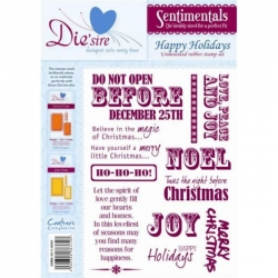 Unmounted Rubber Stamp Set HAPPY HOLIDAYS, Sentimentals range