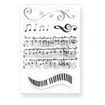 Kanban Clear Unmounted Stamps Set, MUSICAL NOTES individual & background stamps
