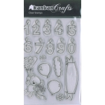 Kanban Clear Unmounted Stamps Set, BIRTHDAY BEAR, Number Candles, balloons etc